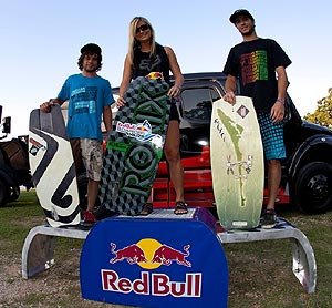 Wakeskate Winners - Brennan Thompson (2nd, Louisiana Tech), Rachel Wardrip (1st, Oklahoma State University) and Wayland Morgan (3rd, Louisiana Tech)