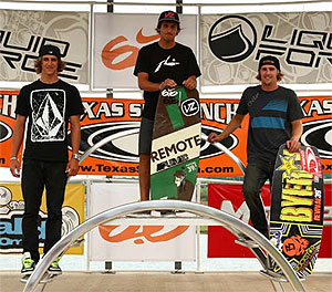 Cable Wakeskate Winners - Josh Zentmeyer (3rd), Andrew Pastura (1st), Bret Little (2nd)