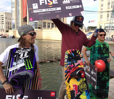 FISE Rail Contest Winners - Shane Bonifay (3rd), Raph Derome (1st) and Keith Lidberg (2nd)