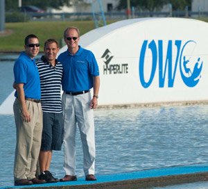 Correct Craft's Bill Yeargin (right) and Sean Marrero (left) at OWC with it's founder Rene Hoffman (middle)