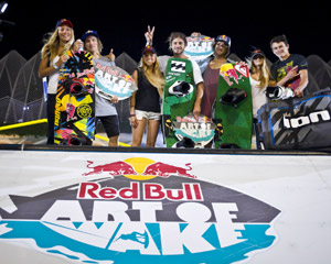 Red Bull Wake of Art Winners - Raph Derome (1st), Marc Rossiter (2nd), Dominik Hernler (3rd) and Jordan Elizondo (4th)