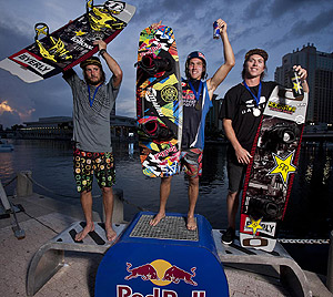 Big Air Winners - Brenton Priestly (2nd), Raph Derome (1st) and Aaron Rathy (3rd)