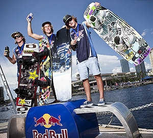 Red Bull Wake Open Overall Winners - Aaron Rathy (2nd), Raph Derome (1st) and Harley Clifford (3rd)