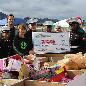 David Williams joins the Marines at the Toys For Tots drive