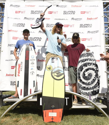 Pro Tour Overall Wakesurf Winners - Parker Payne (2nd), Noah Flegel (1st) and Aaron Witherell (3rd)