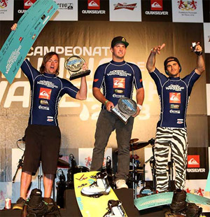 2013 WWA Wakeboard World Series - Brazil Podium - Danny Thollander (3rd), Phil Soven (1st), Dean Smith (2nd)