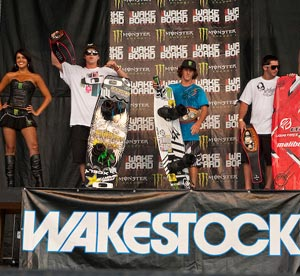 Wakestock Pro Men Winners - Aaron Rathy (2nd), Bob Soven (1st) and Phil Soven (2nd)